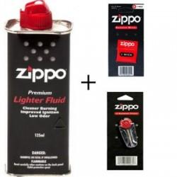 Set Zippo 1 x Benzina Zippo 125 ml,1 x fitil Zippo, 1 x set piatre Zippo