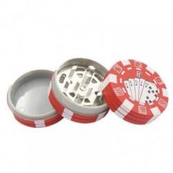 Grinder tocat tutun 40 mm, metalic, Poker Chips Rosu